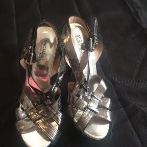 Michael Kors Black & Silver Woven Stiletto Heels
